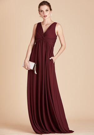 Birdy Grey Lianna Mesh Dress in Cabernet V-Neck Bridesmaid Dress