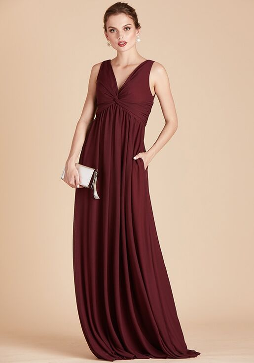 Birdy Grey Lianna Mesh Dress in Cabernet V-Neck Bridesmaid Dress