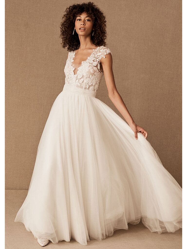BHLDN A-line gown with V-neckline and lace bodice
