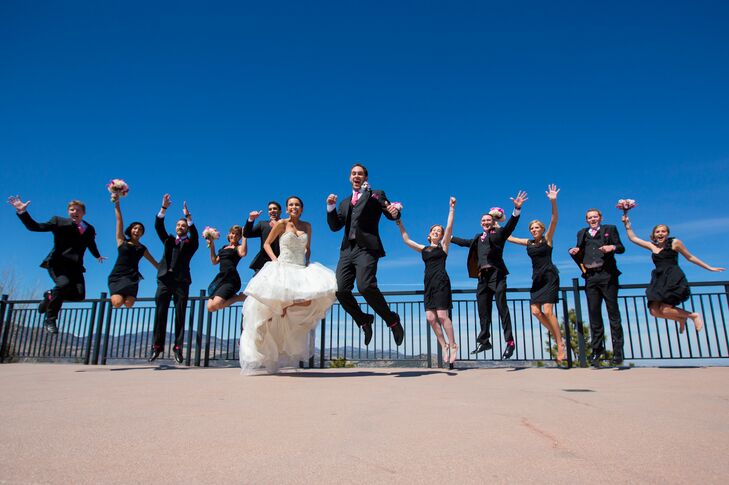 Wedding Party Jumping Photo
