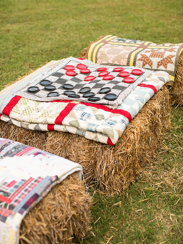 Chess game with hay and quilt decorations