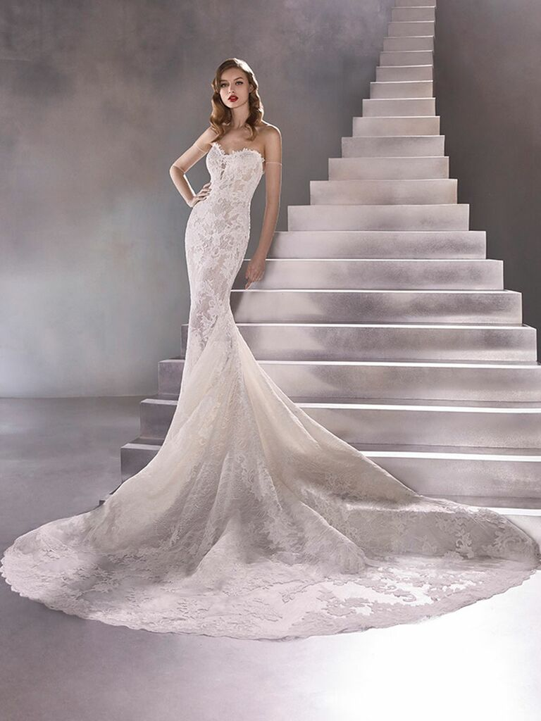 Atelier Provonias wedding dress sweetheart lace mermaid gown