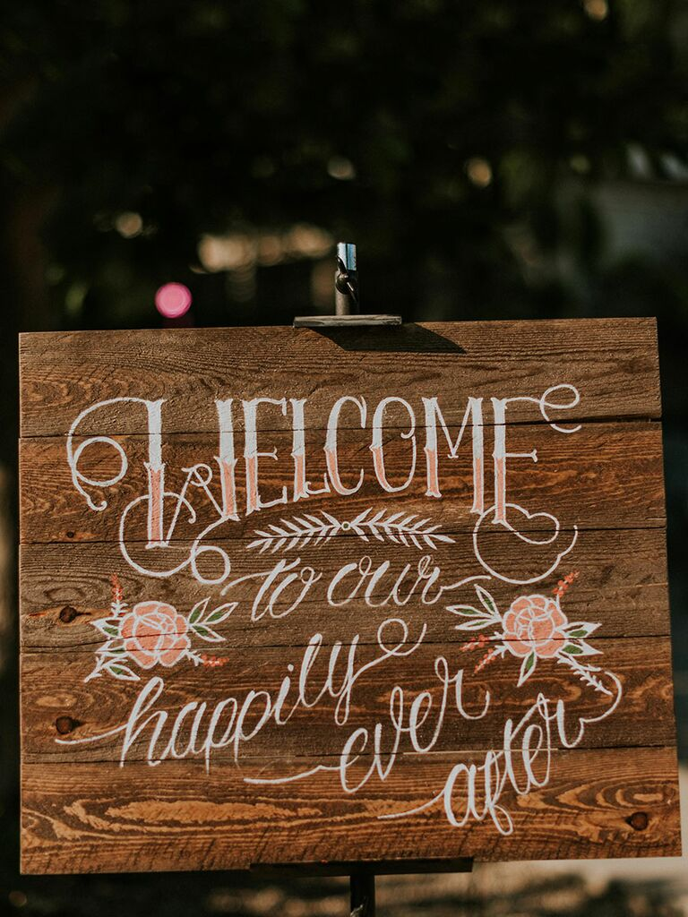 Disney reception ideas happily ever after sign