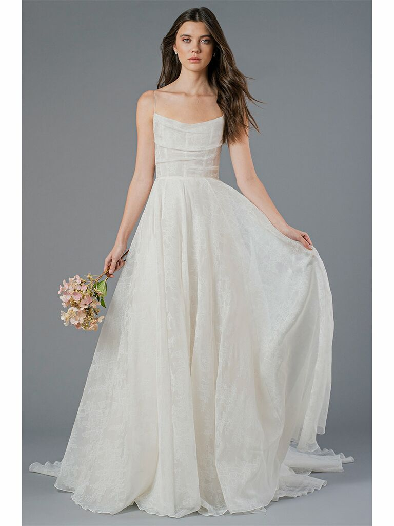 Jenny Yoo wedding dress a-line gown with cowl neck