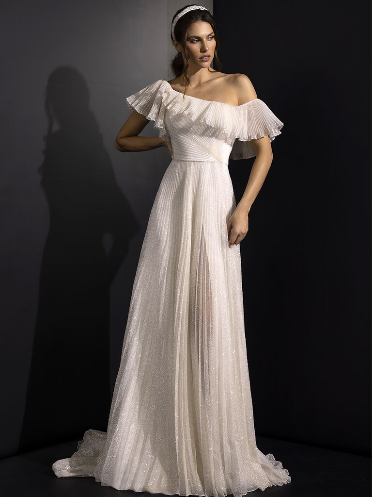 off the shoulder gown ruffles Valentini Spose Fall 2020 collection