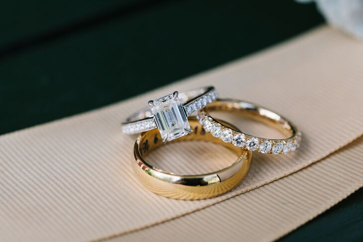 Emerald-Cut Diamond Engagement Ring and Diamond Eternity Band