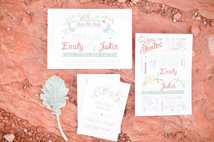 Emily and Justin drew from the colors of the desert for their wedding invitation suite.