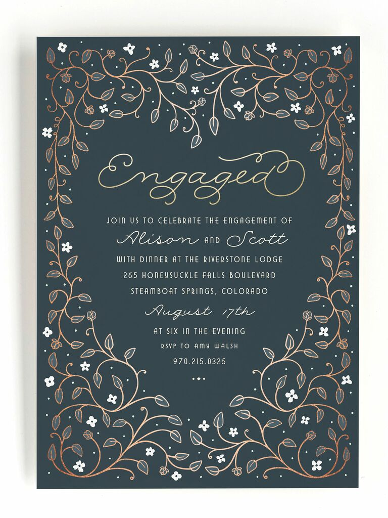 Romantic blue engagement party invitation