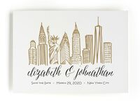 Minted city skyline destination wedding save-the-date