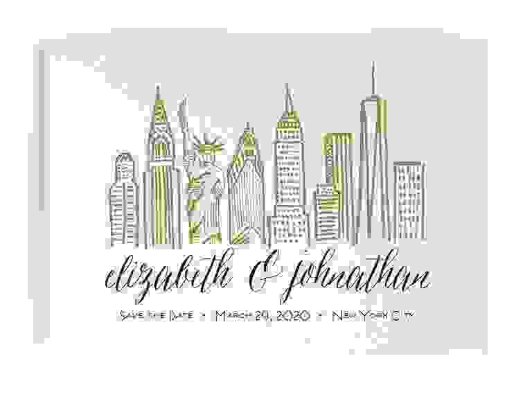 Minted city skyline destination wedding save-the-date