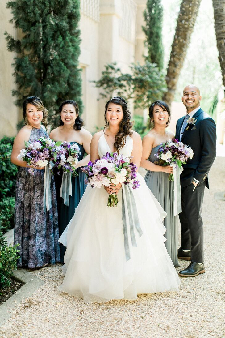 Mismatched Sage, Blue and Turquoise Bridesmaid Dresses