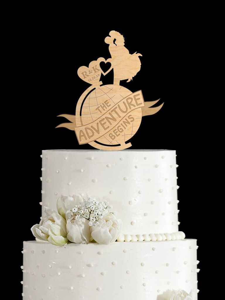 Personalized wooden wedding cake topper