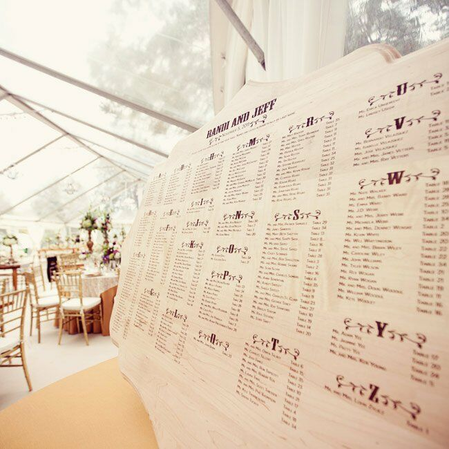 A custom-made engraved wooden sign listed guests' names and table numbers.