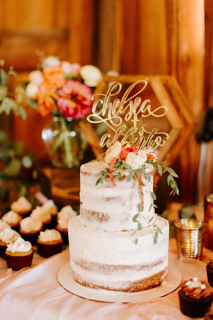 Rustic Two-Tiered Semi-Naked Cake with Gold Topper
