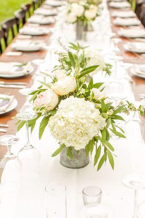 Lush White Hydrangea Centerpieces