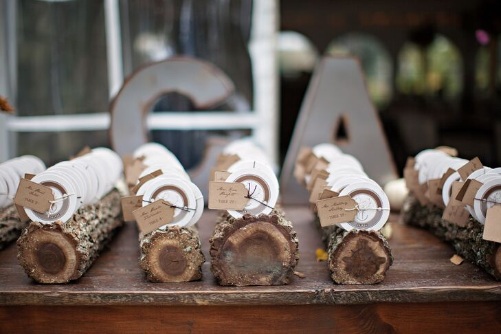 The circular escort cards were displayed on small slabs of wood.