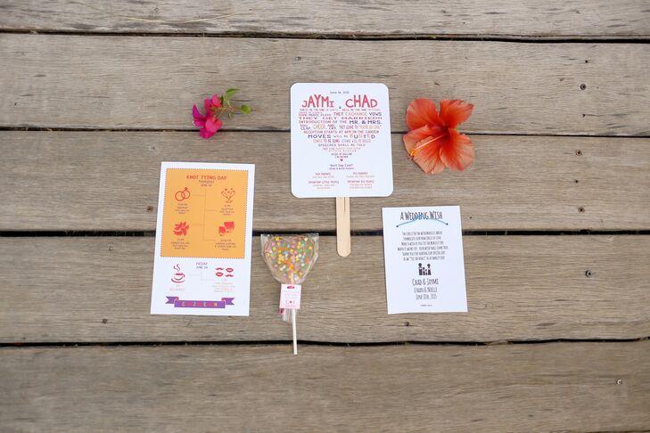 Fan Ceremony Programs and Lollipop Wedding Favors