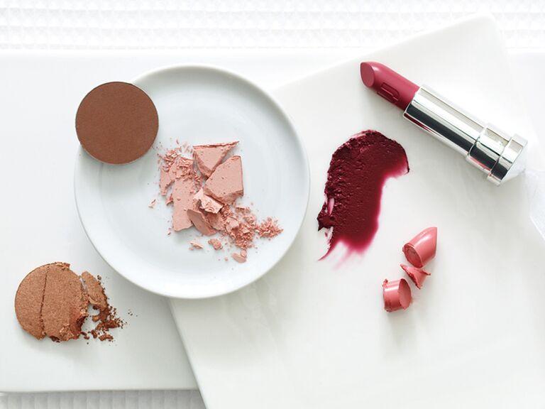 Lipstick, bronzer, blush, eye shadow for the bride