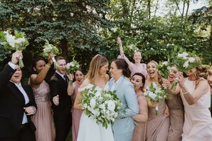Same-Sex Brides and Wedding Party in Hartford, Connecticut