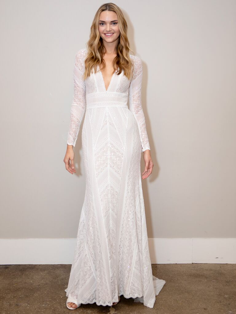 BHLDN Spring 2020 Bridal Collection lace long-sleeve wedding dress