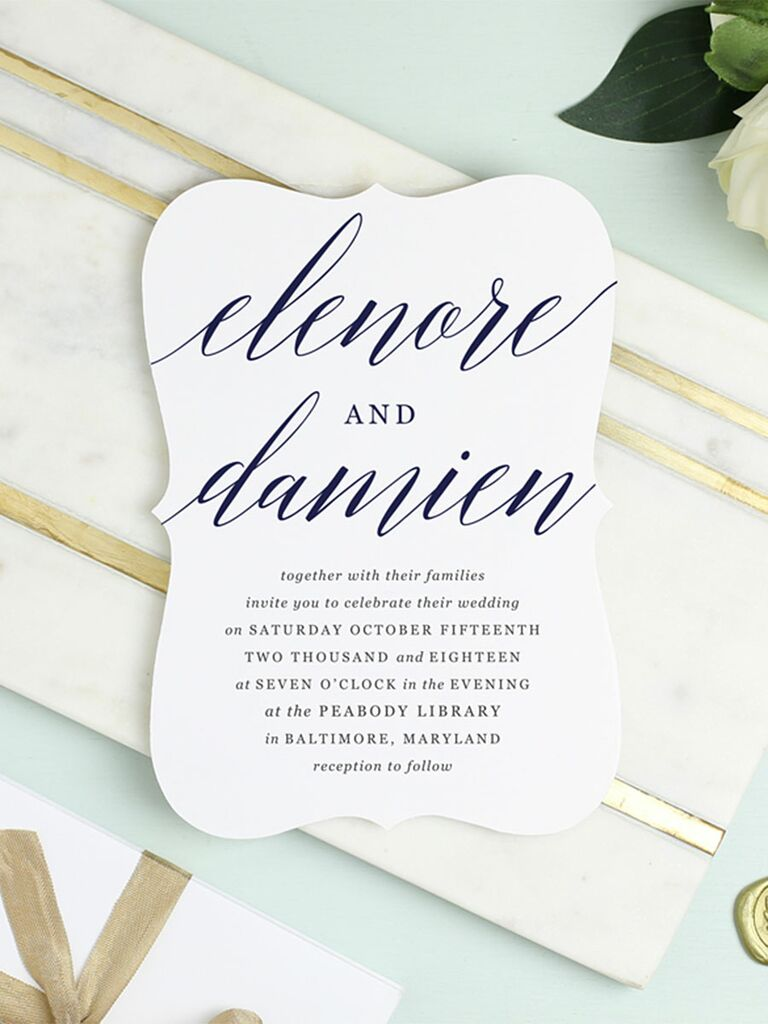 Modern Calligraphed Printable Wedding Invitation Template