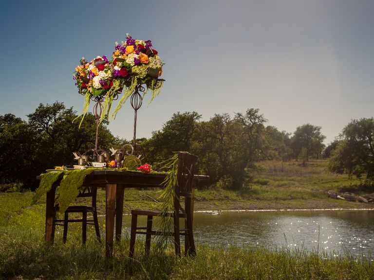 Ethereal mossy tablescape by Texas lake