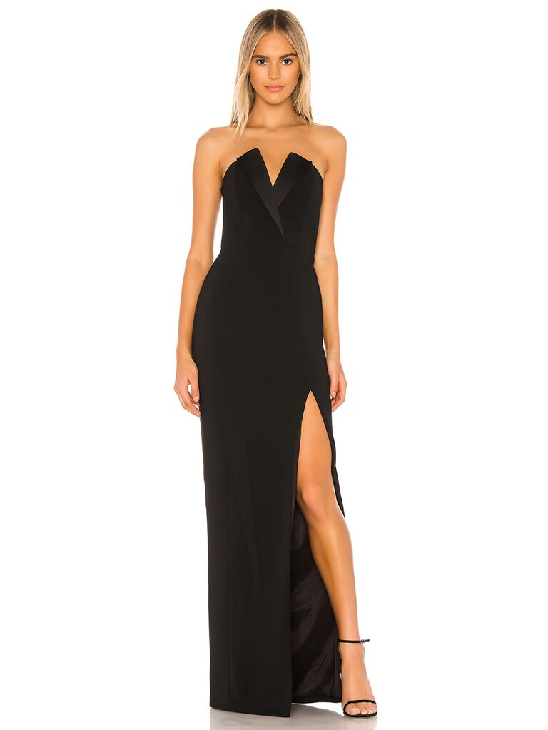 Black strapless tux-inspired evening gown