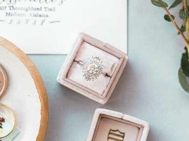 Vintage engagement ring with sunburst halo