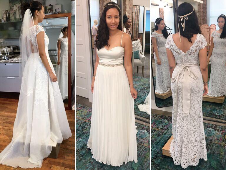Bride in three different wedding dresses