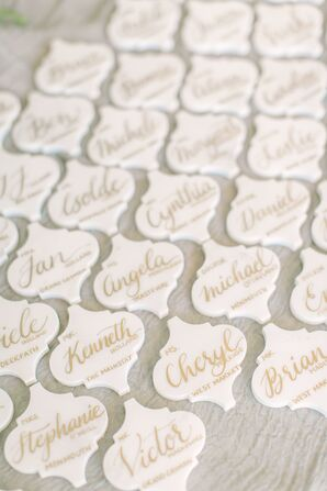 White Tile Escort Cards with Gold Calligraphed Assignments