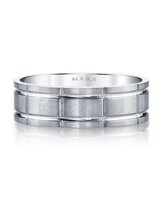 MARS Fine Jewelry MARS Jewelry G129 Men's Band White Gold Wedding Ring