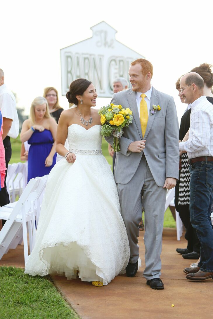 Alyssa wore a simple lace A-line Mori Lee gown with an embellished waist.