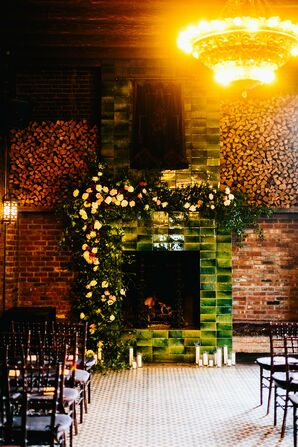 Modern, Industrial Ceremony Site with Fireplace at The Bowery Hotel in New York City