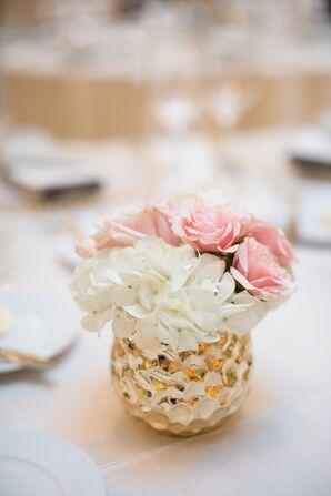 White Hydrangea and Pink Rose Centerpiece