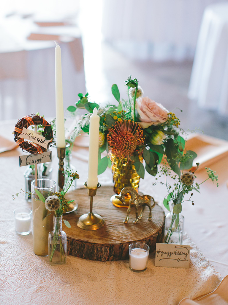 bohemian wood-land wedding centerpiece