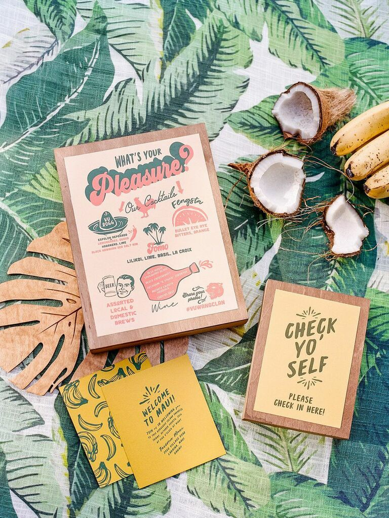Retro tropical stationery for summer wedding in Hawaii