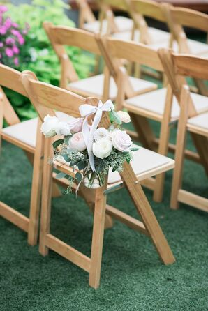 Aisle Decoration with Pastel Peonies, Roses and Ribbon