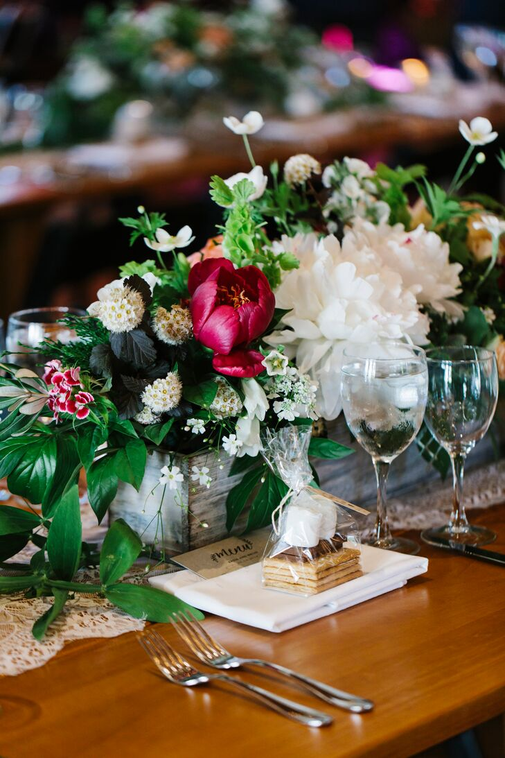 Peony, Scabiosa and Wildflower Centerpieces