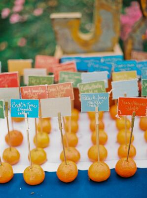 Simple Multicolored Place Cards in Oranges