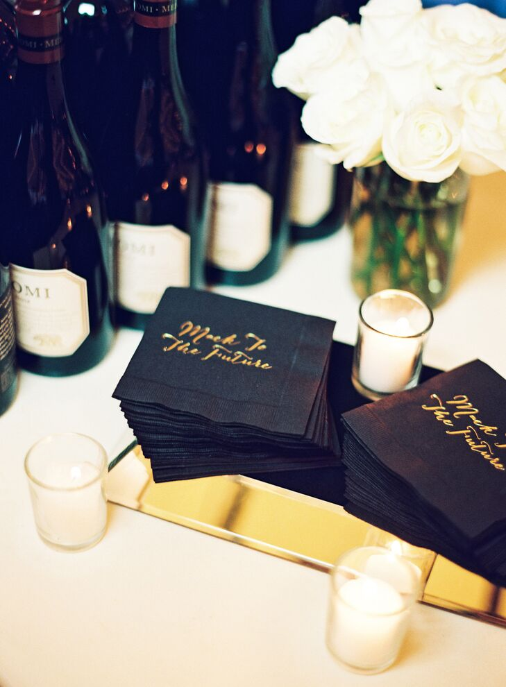 Customized Black-and-Gold Cocktail Napkins
