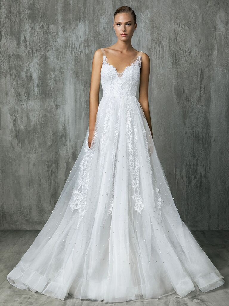 Victoria Kyriakides Fall 2018 wedding dresses with a tulle skirt covered in floating pearls