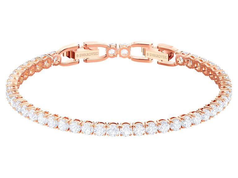 crystal and rose gold tennis bracelet