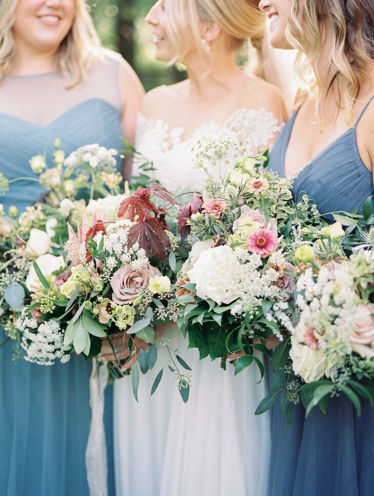 Rustic Bouquets with Roses, Baby's Breath and Wildflowers