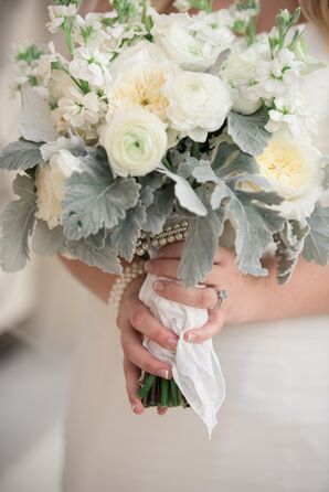 White Rose and Lamb's Ear Bouquet