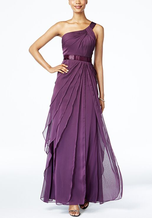 Adrianna Papell Adrianna Papell One-shoulder Tiered Chiffon Gown ...