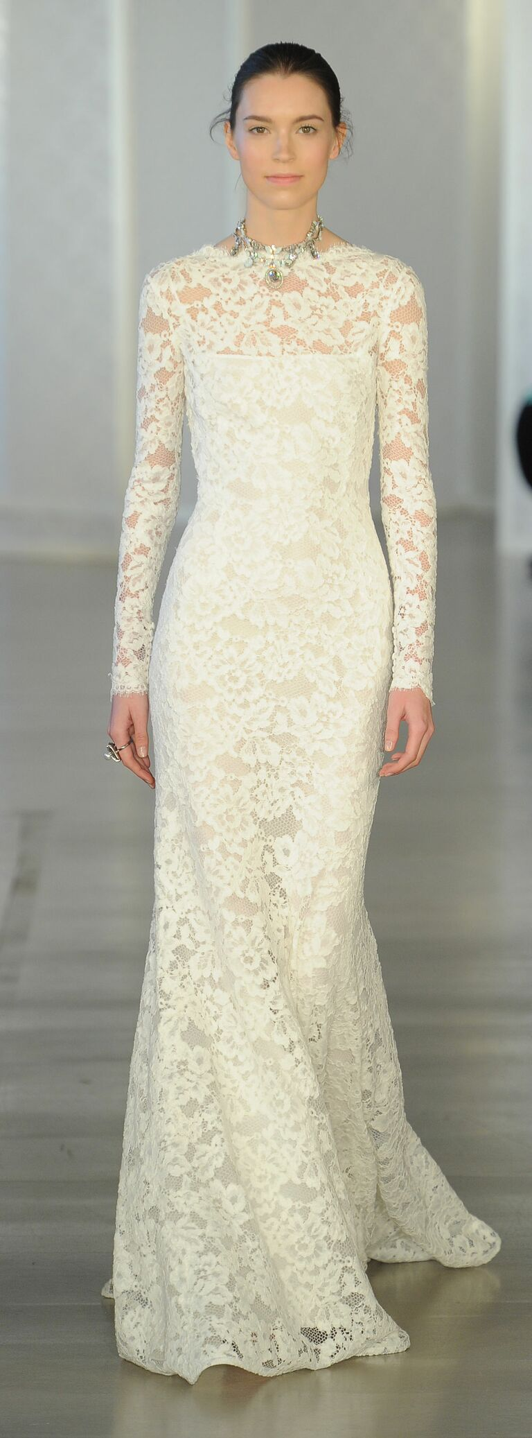 Oscar de la renta spring 2017 collection bridal fashion week photos oscar de la renta long sleeved lace appliqu sheath wedding dress from spring 2017 junglespirit Gallery