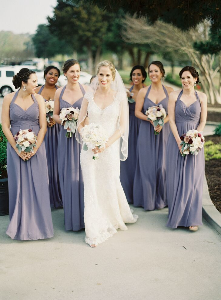 Lavender Bill Levkoff Halter Bridesmaid Dresses