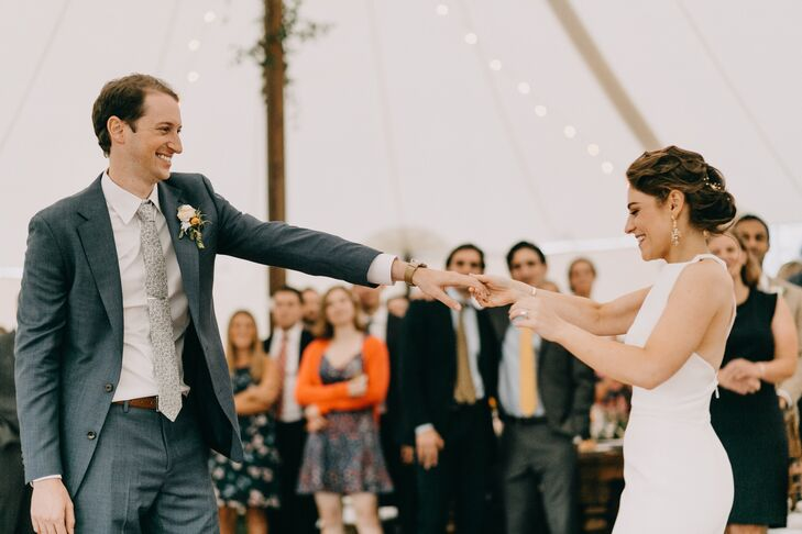Couple's First Dance at Tented Reception in South Londonderry, Vermont