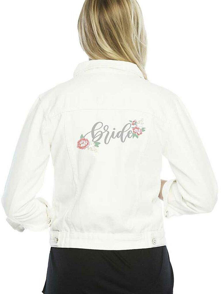 White bride jean jacket with floral embroidery