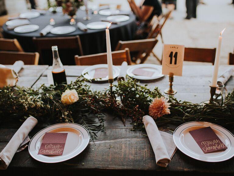 Fall wedding ideas greenery centerpiece